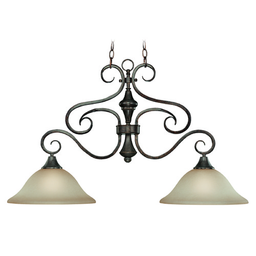 Jeremiah Lighting Jeremiah Torrey Burnished Armor Island Light with Bowl / Dome Shade 24942-BA
