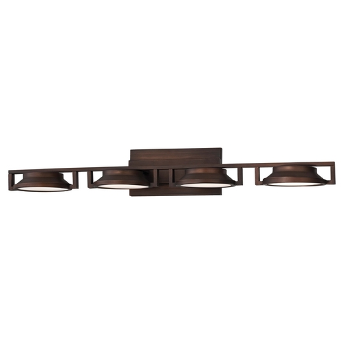 George Kovacs Lighting Modern LED Bathroom Light with White Glass in Copper Bronze Patina Finish P1104-647-L