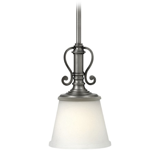 Hinkley Lighting Hinkley Lighting Plymouth Polished Antique Nickel Mini-Pendant Light with Conical Shade 4247PL