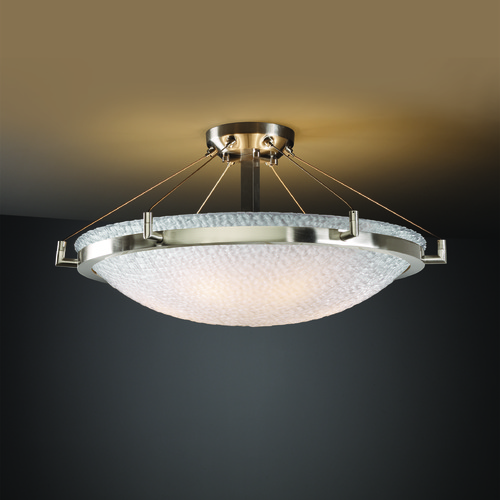 Justice Design Group Justice Design Group Ring Family Brushed Nickel Semi-Flushmount Light 3FRM-9682-35-TILE-NCKL