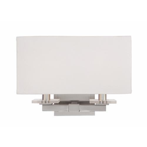 Hudson Valley Lighting Modern Sconce Wall Light with White Shades in Polished Nickel Finish 392-PN