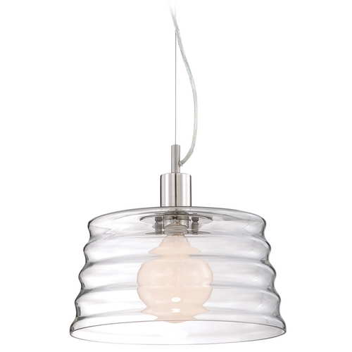 Lite Source Lighting Modern Pendant Light with Clear Glass in Polished Steel Finish LS-19220PS/CLR