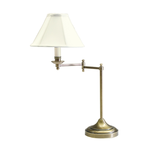 House of Troy Lighting Swing-Arm Lamp with White Shade in Antique Brass Finish CL251-AB