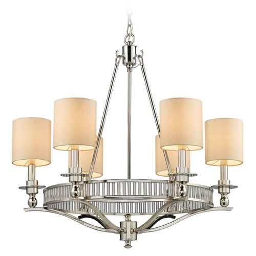 Elk Lighting Chandelier with Beige / Cream Shades in Polished Nickel Finish 10167/6