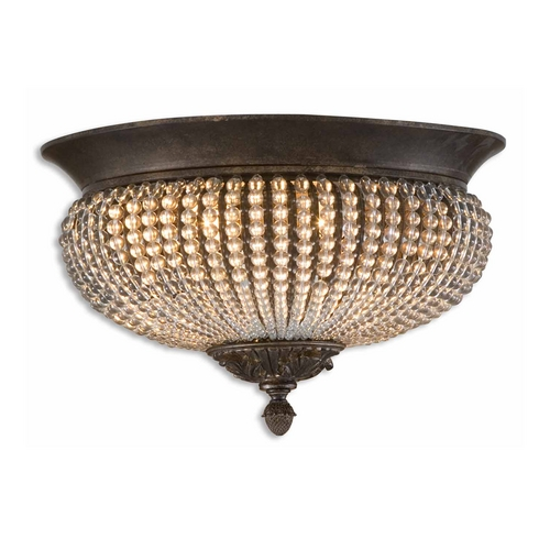 Uttermost Lighting Flushmount Light with Clear Glass in Golden Bronze Finish 22222
