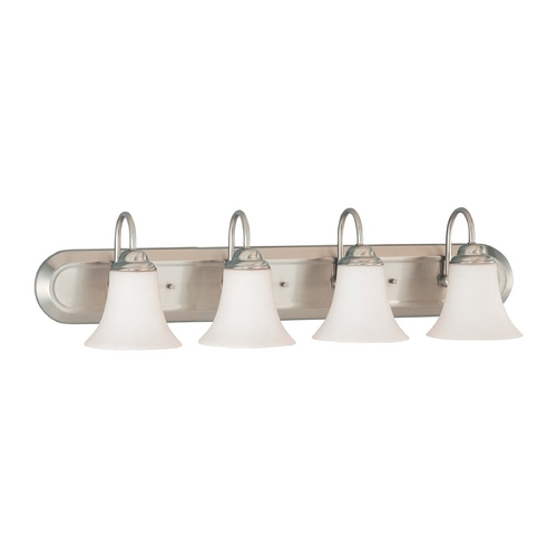 Nuvo Lighting Bathroom Light with White Glass in Brushed Nickel Finish 60/1915