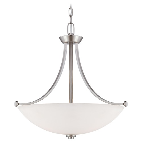 Nuvo Lighting Pendant Light with White Glass in Brushed Nickel Finish 60/5016