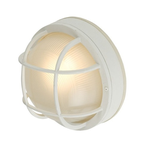 Design Classics Lighting Round Bulkhead Light with Ribbed Glass and LED Bulb- 10-Inches Wide 4511 WH  LED