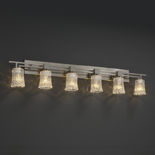 Justice Design Group Justice Design Group Veneto Luce Collection Brushed Nickel Bathroom Light GLA-8706-16-CLRT-NCKL