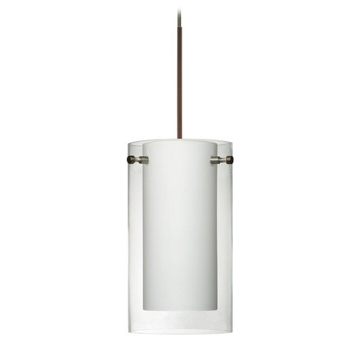 Besa Lighting Besa Lighting Pahu Bronze LED Mini-Pendant Light with Drum Shade 1XT-C44007-LED-BR