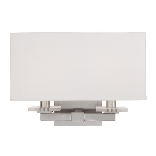 Hudson Valley Lighting Modern Sconce Wall Light with White Shades in Satin Nickel Finish 392-SN