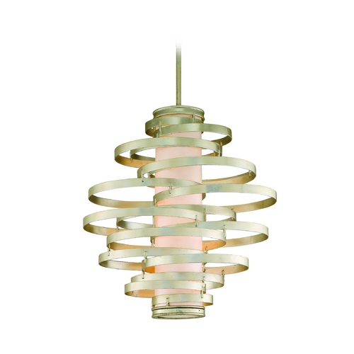 Corbett Lighting Modern Pendant Light in Modern Silver Leaf Finish 128-76