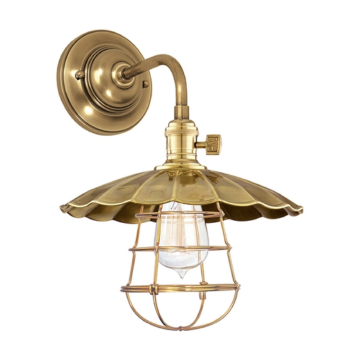 Hudson Valley Lighting Sconce Wall Light in Aged Brass Finish 8000-AGB-MS3-WG