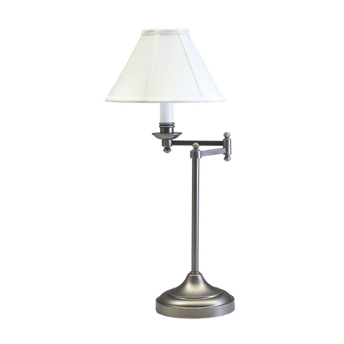House of Troy Lighting Swing-Arm Lamp with White Shade in Antique Silver Finish CL251-AS