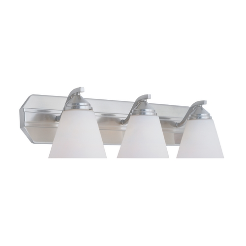 Designers Fountain Lighting Bathroom Light with White Glass in Satin Platinum Finish 6603-SP