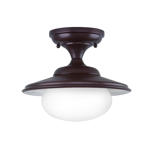 Hudson Valley Lighting Semi-Flushmount Light with White Glass in Old Bronze Finish 9101-OB