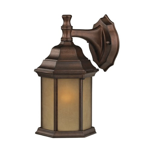 Design Classics Lighting Outdoor Wall Light with Hexagon Shade and LED Bulb - 12-Inches Wide 6204 AT  LED