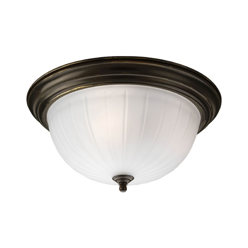 Progress Lighting Progress Flushmount Light with White Glass in Antique Bronze Finish P3818-20