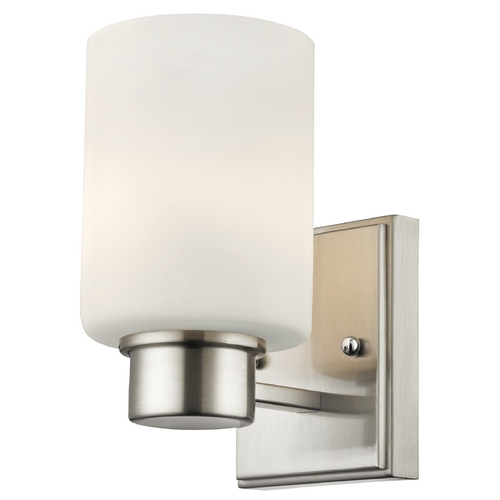 Dolan Designs Lighting Modern Sconce Wall Light with White Glass in Satin Nickel Finish 3881-09