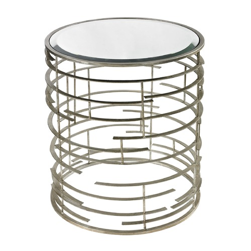 Sterling Lighting Contemporary Sculptural Metal Work Side Table With Clear Glass Top 114-92