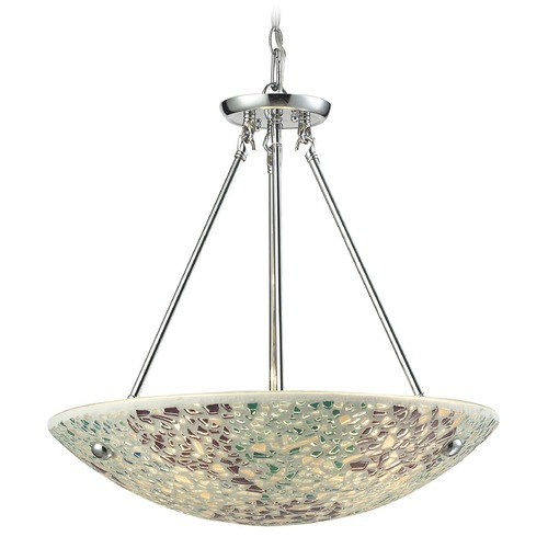 Elk Lighting Elk Lighting Glass Mosaic Polished Chrome Mini-Pendant Light with Bowl / Dome Shade 10420/4