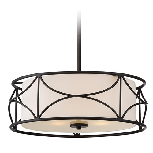 Designers Fountain Lighting Designers Fountain Avara Oil Rubbed Bronze Pendant Light with Drum Shade 88631-ORB