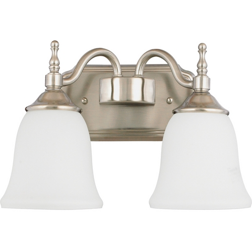 Quoizel Lighting Bathroom Light with White Glass in Brushed Nickel Finish TT8742BN
