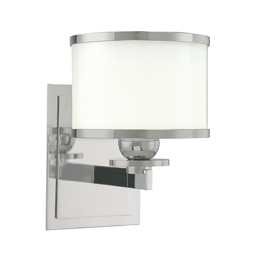 Hudson Valley Lighting Sconce with White Glass in Satin Nickel Finish 6101-SN