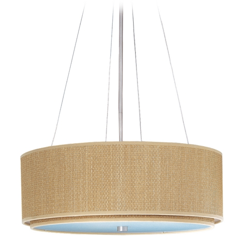 ET2 Lighting Modern Pendant Light with Brown Shades in Satin Nickel Finish E95160-101SN