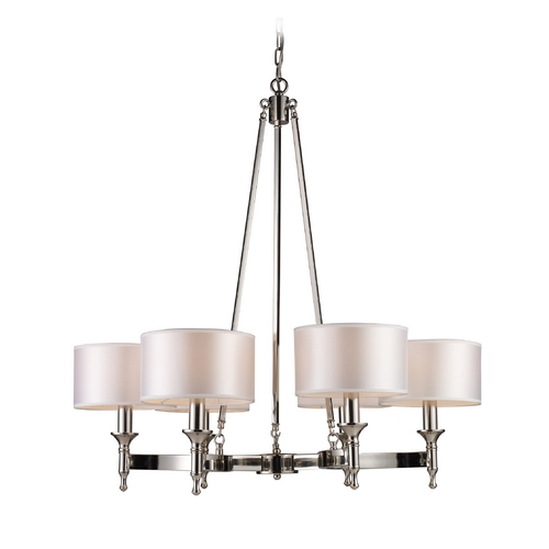 Elk Lighting Modern Chandelier with Beige / Cream Shades in Polished Nickel Finish 10123/6