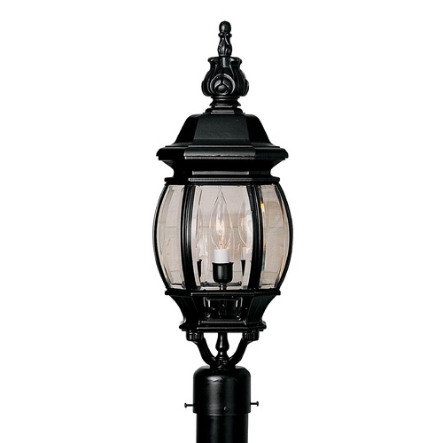 Designers Fountain Lighting Post Light with Clear Glass in Black Finish 2416-BK
