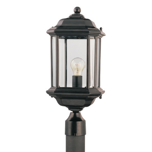 Sea Gull Lighting Post Light with Clear Glass in Black Finish 82029-12