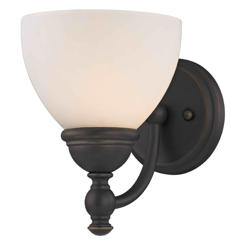 Design Classics Lighting Satin White Glass Traditional Sconce - Bolivian Finish 2926-78 GL1033-WH