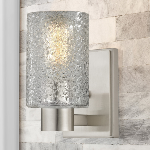 Design Classics Lighting Ice Glass Sconce Satin Nickel 2101-09 GL1060C