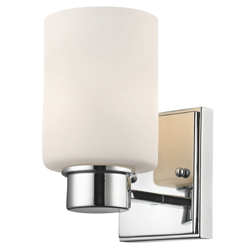 Dolan Designs Lighting Modern Sconce Wall Light with White Glass in Chrome Finish 3881-26