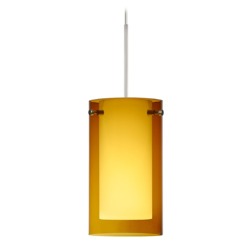 Besa Lighting Besa Lighting Pahu Satin Nickel LED Mini-Pendant Light with Drum Shade 1XT-G44007-LED-SN