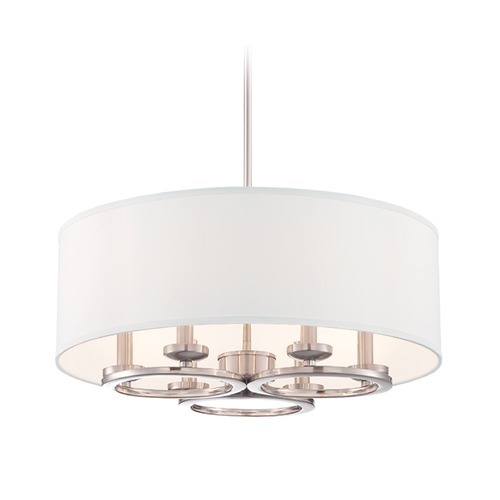 Designers Fountain Lighting Designers Fountain Omega Satin Platinum Pendant Light with Drum Shade 86631-SP