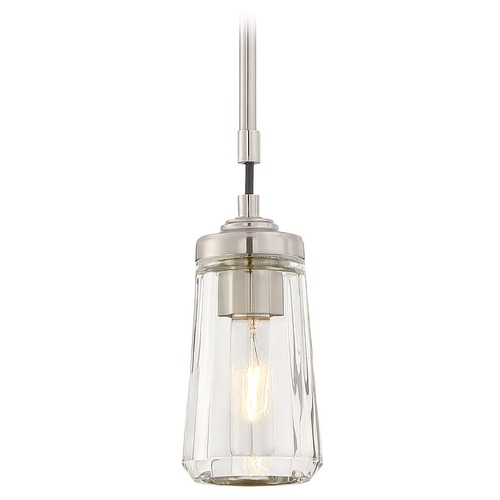 Minka Lavery Minka Poleis Brushed Nickel Mini-Pendant Light with Fluted Shade 3301-84