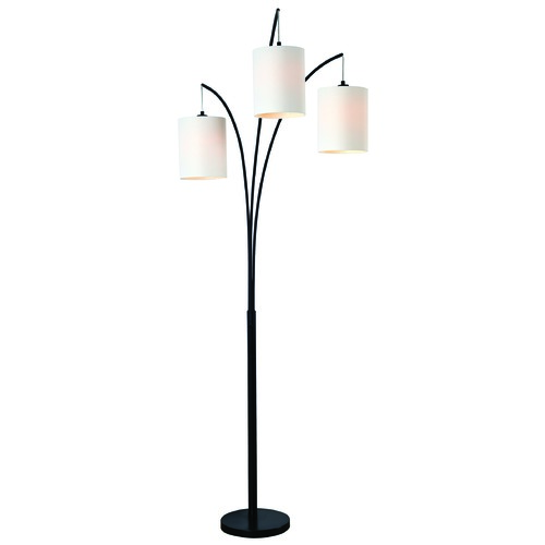 Kenroy Home Lighting Kenroy Home Leah Black Arc Lamp with Cylindrical Shade 32849BL