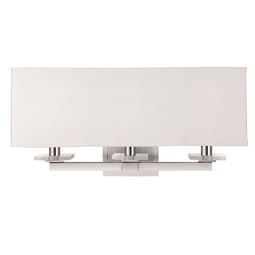 Hudson Valley Lighting Modern Sconce Wall Light with White Shades in Polished Nickel Finish 393-PN