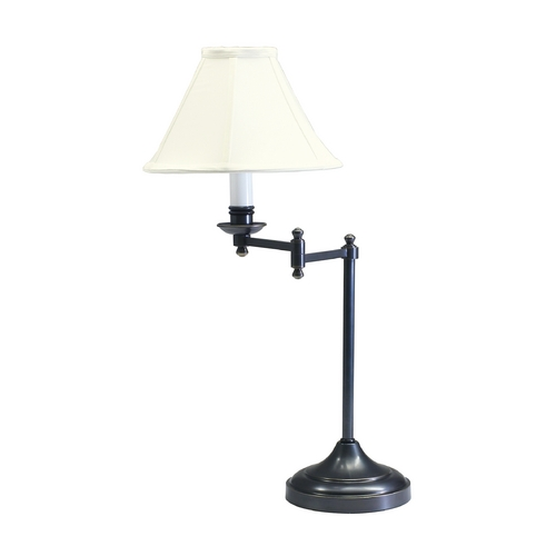 House of Troy Lighting Swing-Arm Lamp with White Shade in Oil Rubbed Bronze Finish CL251-OB