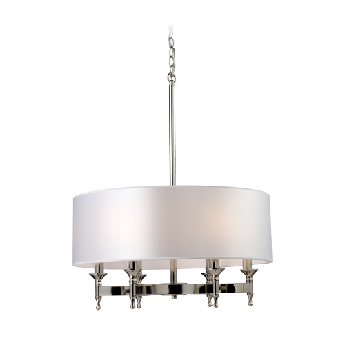 Elk Lighting Modern Drum Pendant Light with Silver Shade in Polished Nickel Finish 10162/6