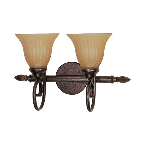 Nuvo Lighting Bathroom Light with Beige / Cream Glass in Copper Bronze Finish 60/2412