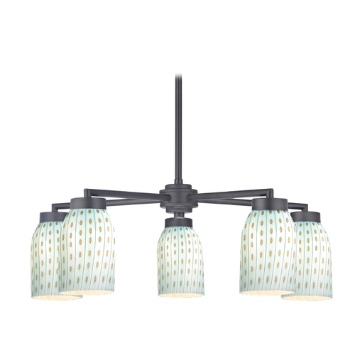 Design Classics Lighting Modern Chandelier with Five Lights and Art Glass in Black Finish 590-07 GL1003D