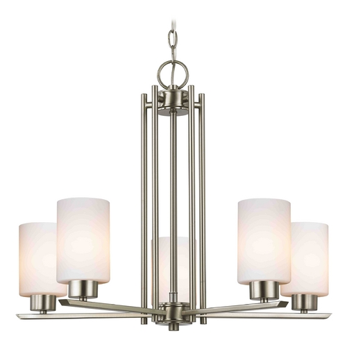 Design Classics Lighting Modern Chandelier with White Glass in Satin Nickel Finish 1120-1-09 GL1028C