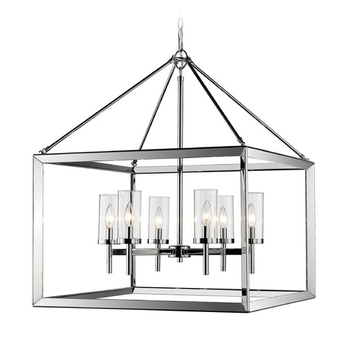 Golden Lighting Golden Lighting Smyth Chrome Pendant Light with Cylindrical Shade 2074-6 CH-CLR