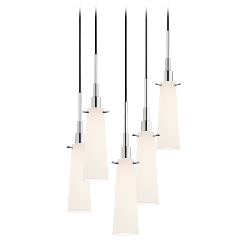Sonneman Lighting Modern Multi-Light Pendant Light with White Glass and 5-Lights 3553.01-5