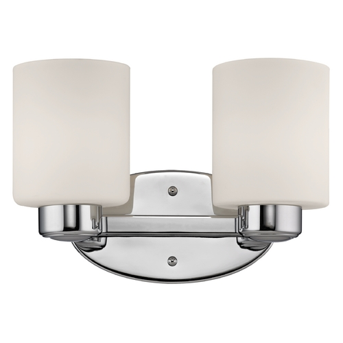 Dolan Designs Lighting Bathroom Light with White Glass in Chrome Finish 3432-26