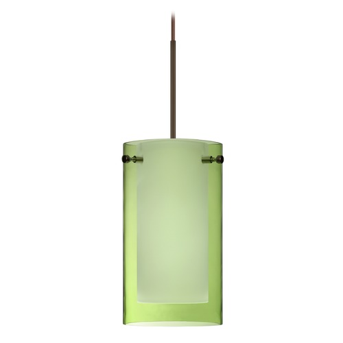 Besa Lighting Besa Lighting Pahu Bronze LED Mini-Pendant Light with Drum Shade 1XT-L44007-LED-BR