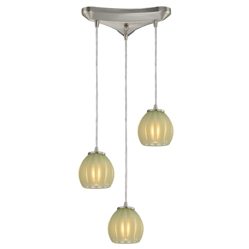 Elk Lighting Elk Lighting Melony Satin Nickel Multi-Light Pendant with Bowl / Dome Shade 10421/3JD